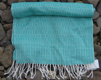 green and white cotton scarf