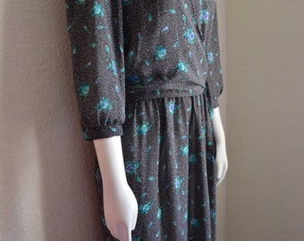 Vintage 1980s Alison Peters Sheer Polyester Secretary Dress Grey with Delicate Blue Teal Flowers Size Medium