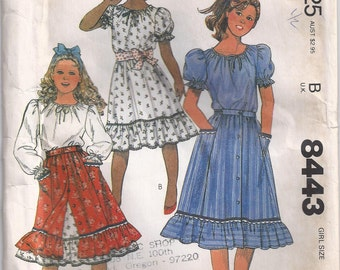 Skirt With Elastic Waist And Ruffle Pullover Top Or Blouse Girls Size 14 Shirt Or Blouse Vintage Childrens Sewing Pattern 1983 McCalls 8443