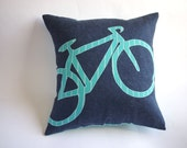 Bicycle pillow - organic cotton denim / upcycled fabric- applique and embroidery - 18""