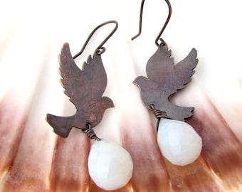 Dove Earrings with Opalite Copper Bird Earrings