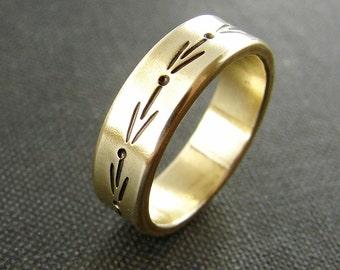 Romantic brass band. Wedding ring in gold tone brass. Boho romantic ring.