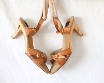 wood & leather heels / 7 / 1970's