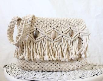 Vintage 70's Macrame Fringe Handbag