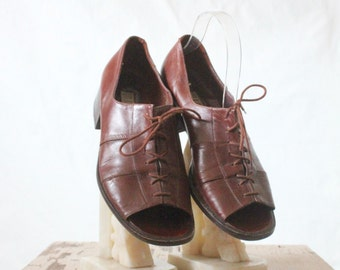Vintage 80's Leather Bourbon Lace Oxfords Sz 8