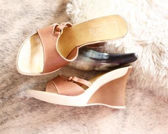 Vintage Italian Leather Wedge Sandals 8