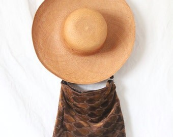 Vintage 60's Brown Velour Carpet Handbag/ Well Worn