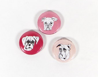 Valentines boxer dog magnets - boxer magnet set in red and pink - illustrated boxer dogs - boxer drawings - valentines boxer gift - cute