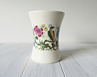 Vintage Purbeck Ceramic Vase - Bird and Flowers Design, Vintage Home Decor - Purbeck Ceramics Swanage