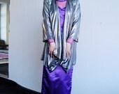 Vintage Metallic Silver Op Art Shrug Holographic Draped Cardigan Jacket