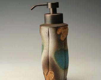 cloud pattern foam soap pump, brown and teal foaming soap dispenser, pottery foamer, bronze foam soap pump, rustic foam soap bottle, ceramic