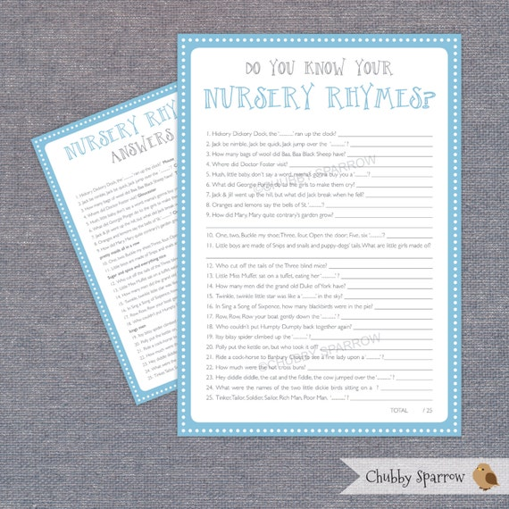 Baby Shower Nursery Rhyme Quiz Game With Answers, Blue U0026 Grey, Baby Reveal  Party, A4 / Letter Sizes Digital File U2013 Print At Home