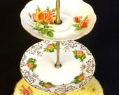 Lovely Yellow & Pink Roses 3 tier Vintage Cake Stand