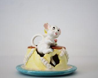 Vintage Ceramic Mouse Birthday Cake Figurine - Napco Ceramics Japan Mouse Inside Cake Knicknack