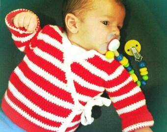 Gilet cache cœur au crochet (en FRANÇAIS) - naissance à 3 mois