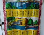 Vintage 70s Linen Tea Towel The People's Friend 1977 Calendar with Tay Road Bridge, Stratford upon Avon and Dumbarton