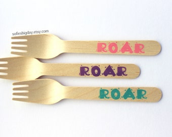 Girl Dinosaur forks-25 dinosaur spoons-Girl Dinosaur birthday-Dinosaur party-Roar forks-girl birthdays-1st birthday -Girl Dinosaur party