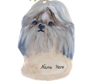 Personalized Christmas ornament shih tzu  ornament personalized with your choice of name holiday ornament handmade from resin (138)