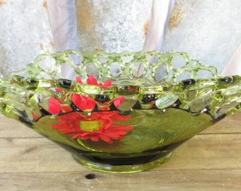 Prettiest Green Bowl/Rare Green Glass Bowl/ Lace Green Oval Bowl/Lace Edge Christmas Bowl/Ready to Ship