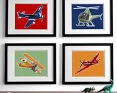 Boys airplane nursery art - airplane nursery decor, set of 4 children's art, vintage airplane illustrations
