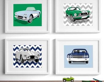 Childrens art - car art transportation wall art - chevron sports cars - set of four unframed boys art prints - nursery art prints