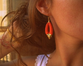 Orange Earrings, wrapped with cord