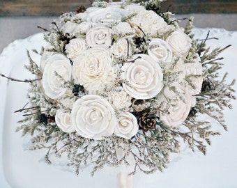 Winter Wedding Bouquet // Rustic Sola Flower Bouquet, Cream Ivory, Winter White, Dried Flower Bouquet, Pine Cone, Twig, Woodland Bouquet