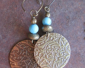 Boho Gypsy Turquoise Howlite and Brass Earrings