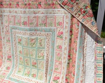 Cottage Quilt Heirloom Handmade Shabby Elegance Country French Boho Chic Large Twin Small Double Size Vintage Inspired Retro Bedding