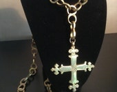 Vintage heavy brass Coptic cross with hand wrought chain worn by priest