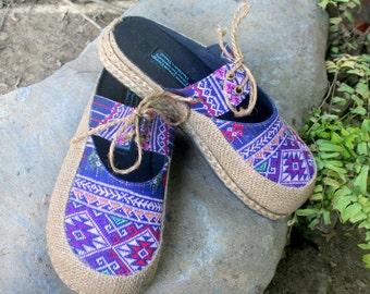 Slip On Womens Shoes Vegan Slides in Hand Woven Teen Jok Ethnic Textiles - Heidi