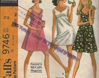 PATTERN McCalls 9746 Bra Dress empire waist sweetheart neckline fitted bodice a-line skirt mini or knee length Size 12