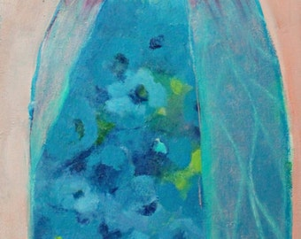 "Abstract Figure, Angel Painting, Original on Canvas, Blue, Floral,  ""Morning Angel"" 12x24"""