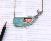 Pinocchio in the whale's belly statement shrink plastic necklace