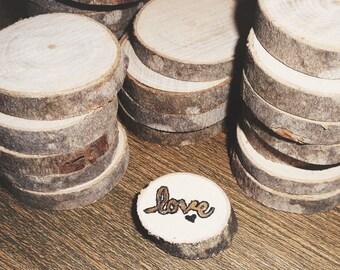 Gold Love Wood Slice Magnet