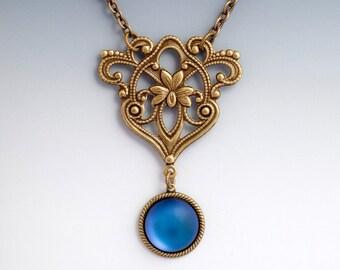 Art Nouveau Lily Pendant, Frosted Purple Necklace, Purple Glass Pendant, Purple Filigree Flower Jewelry, Purple Flower Necklace, Eskarne