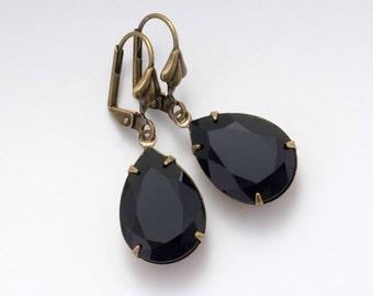 Jet Black Swarovski Crystal Earrings, Black Rhinestone Earrings, Brass Drop Earrings, Black Crystal Jewelry, Black Earrings Dangle, Amanda