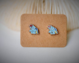 My Little Pony: Friendship Is Magic -- Petite RAINBOW DASH Stud Earrring ~ 7 mm- Girls / Casual / Cutie