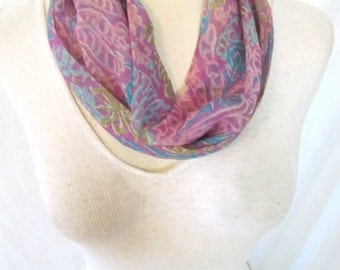 Vtg '70s Vera Neumann Silk Scarf Infinity Loop Purple Blue Green Abstract Floral Batik Print Made in Japan