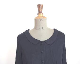 STELLA // Babydoll vintage black blouse //