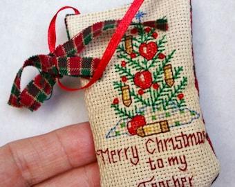 "Cross Stitch ""Merry Christmas to my Teacher"" Ornament, Hand Stitched, Beaded Teacher Ornament, Teacher Gift, Cross Stitch Teacher's Gift"