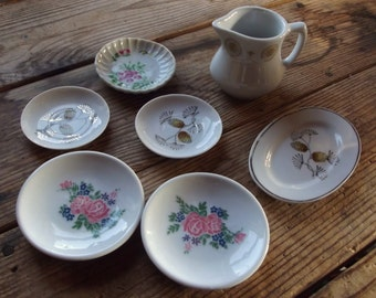 Miniature Doll Ceramic dishes lot / Doll Supplies / Assemblage / mixed media / art doll / spare parts / found objects / upcycling