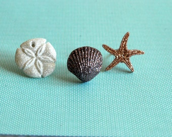 Seashell Earrings -- Seashell Studs, Glittery Seashells, Starfish, Pick your favorite pair! Sea shells