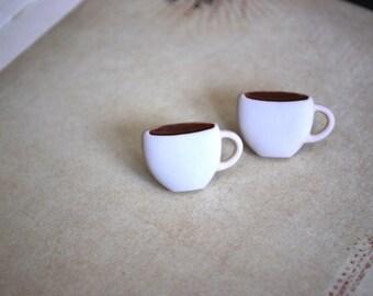 Coffee Earrings -- Coffee Studs, Big Coffee Cup Studs, Coffee Lover Earrings