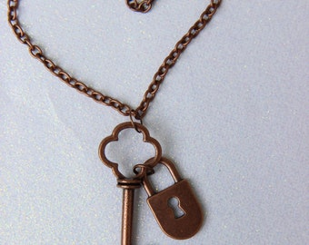 Antique Copper Lock and Key Necklace