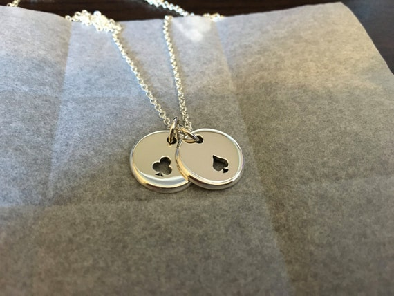 Clubs and Spades Card Symbols Silver Pendant Necklace