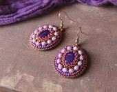 Purple Dangle Earrings Purple Jewelry Purple Beads Earrings Purple Glass Earrings Boho Earrings Beadwork Earrings Embroidery MADE TO ORDER