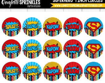 """INSTANT DOWNLOAD """"Superhero"""" Red, Blue and Yellow 4x6"""" 1"""" Inch Bottle Cap Image/Digital Collage Sheet"""