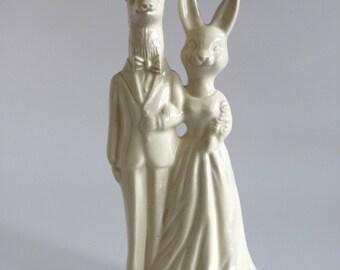 Deer and Bunny Ceramic Wedding Cake Topper
