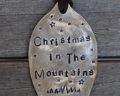 CHRISTMAS in the MOUNTAINS 2016 Ornament with Mountains hand stamped Vintage Spoon on brown suede leather Large